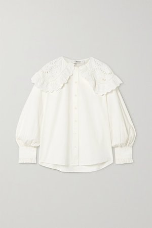 Marina Broderie Anglaise Cotton-poplin Blouse - White