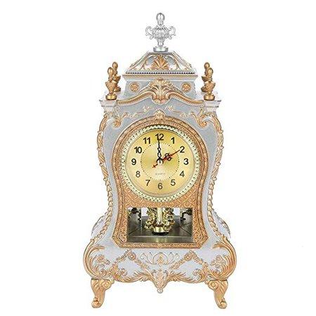 Vintage Style Plastic Table Clock Antique Home Hotel Decorative Desk Alarm Clocks(White): Home & Kitchen