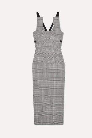 Grosgrain-trimmed Checked Wool-blend Midi Dress - Gray