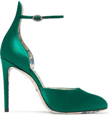 Daisy Satin Pumps - Emerald