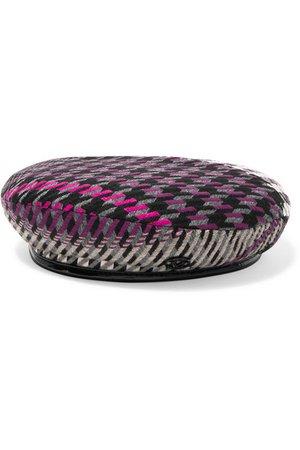 Maison Michel   Billy vinyl-trimmed houndstooth tweed beret   NET-A-PORTER.COM