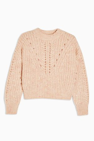 PETITE Pink Textured Pointelle Knitted Sweater | Topshop