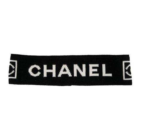 Chanel Black White Creme Wool Sport Ligne Logo Print Sweatband Hat - Tradesy