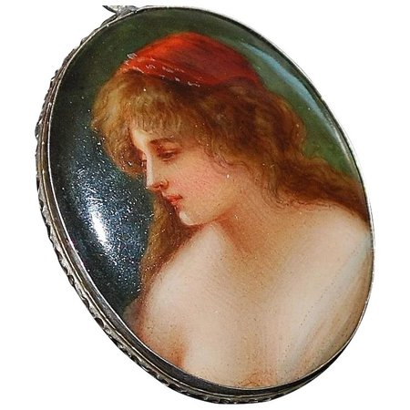 800 Silver Firenze Hand Painted Porcelain Brooch - 1920 : Antique World USA | Ruby Lane
