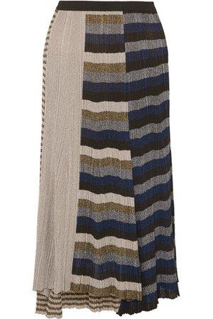 Sonia Rykiel | Metallic striped ribbed-knit skirt | NET-A-PORTER.COM