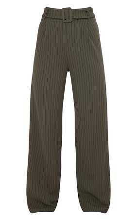 Khaki Pinstripe Belted Wide Leg Trousers   PrettyLittleThing