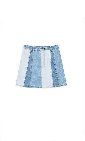 Reworked denim mini skirt - Women's Just in | Stradivarius United States