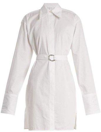 Helmut Lang - Striped Tie Waist Cotton Shirtdress