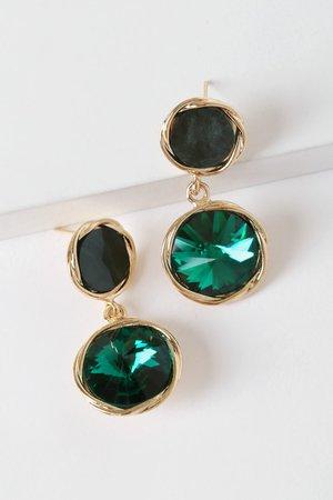 Glam Gold Earrings - Emerald Rhinestone Earrings - Drop Earrings