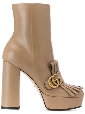 Brown Gucci Fringed Platform Ankle Boots | Farfetch.com