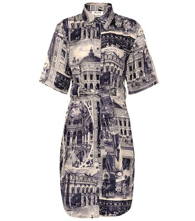 Della printed linen shirt dress