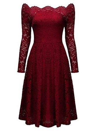 Miusol Vintage 1950 Dentelle Off-Epaule Robe de Soirée Femme: Amazon.fr: Vêtements et accessoires