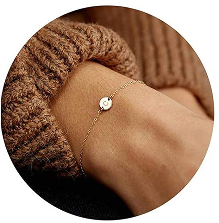 Amazon.com: Personalized Initial Bracelet, 18K Gold Plated Stainless Steel Letter C Bracelet Dainty Coin Charm Bracelet Delicate Disc Name Bracelet for Women Girls: Clothing