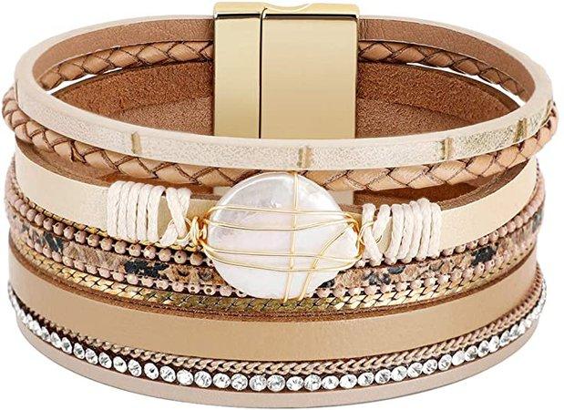 Amazon.com: Emibele Layered Leather Bracelet, Bohemian Style Multilayer Dual Loop Wrap Bracelet with Rivet for Women Ladies - Reddish Brown: Jewelry