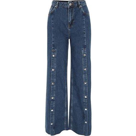 River Island Blue popper front split wide leg jeans ($100)