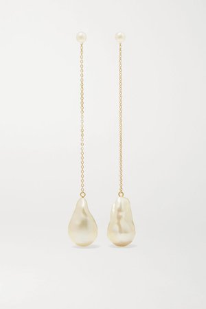 Gold 14-karat gold pearl earrings | Mizuki | NET-A-PORTER