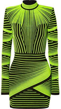Neon Ribbed Stretch-knit Mini Dress - Green