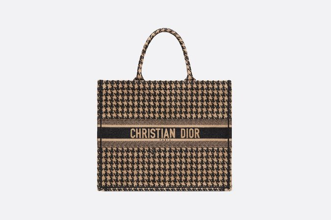 Dior Book Tote in Embroidered Multicolor Lurex Houndstooth - Bags - Women's Fashion | DIOR