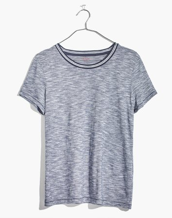 Whisper Cotton Ringer Tee in Stripe