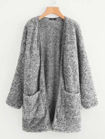 Patch Pocket Open Front Fuzzy Teddy Coat | ROMWE
