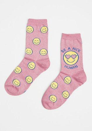Be a Nice Human Shimmer Unisex Socks Pink | ModCloth