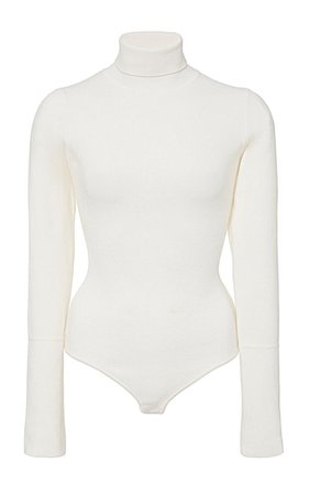 white turtle neck bodysuit top