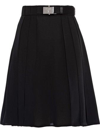 Prada Belted Pleated Mini Skirt - Farfetch