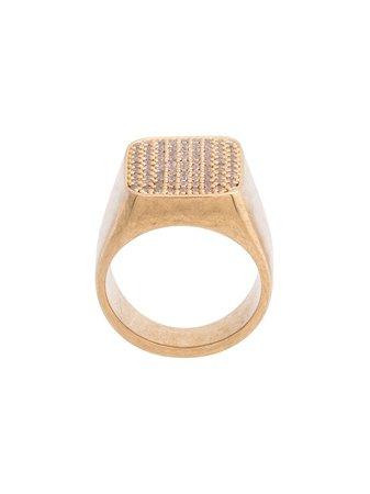 Gold Balenciaga Strass Signet Ring | Farfetch.com