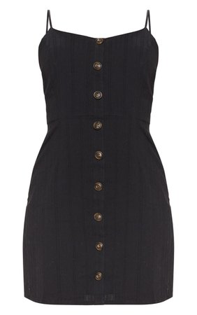 Black Textured Wooden Button Tea Dress | PrettyLittleThing USA