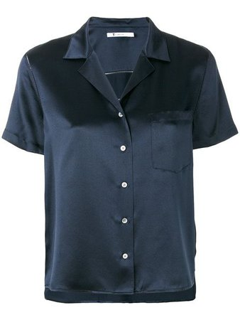 T BY ALEXANDER WANG Notched Lapel Silk Charmeuse Shirt in Blue