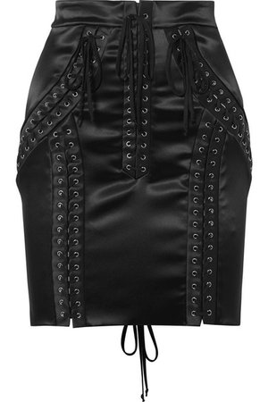 Dolce & Gabbana | Lace-up stretch-satin mini skirt | NET-A-PORTER.COM
