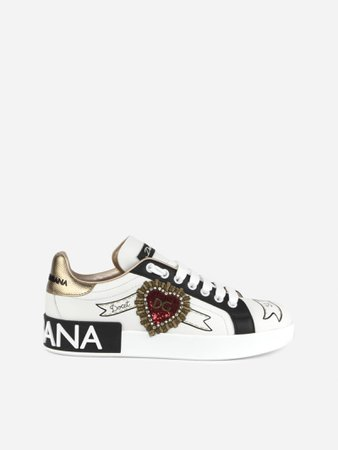 Dolce & Gabbana Portofino Sneakers In Leather With Side Application