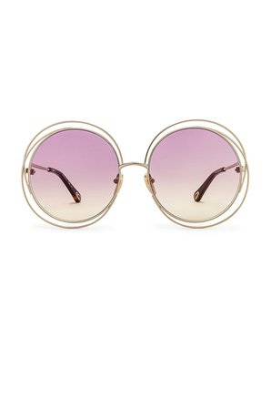 Chloe Carlina Round Gradient in Shiny Light Gold with Pink & Yellow Gradient | REVOLVE