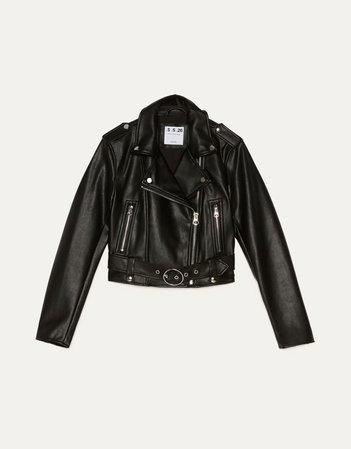 Faux leather biker jacket - Outerwear - Woman | Bershka