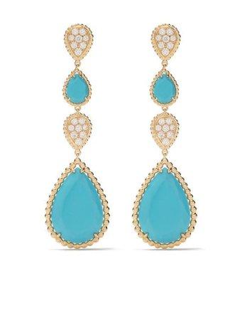 Boucheron Boucles d'oreilles Pendantes Serpent Bohème S En Or 18ct Ornées De Diamants Et De Turquoises - Farfetch