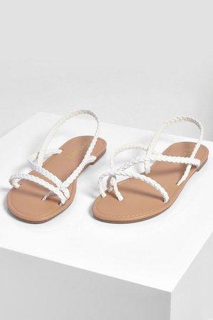 Plaited Strap Toe Post Sandals | boohoo white