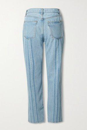 Shibori Tate Cropped High-rise Straight-leg Jeans - Light denim