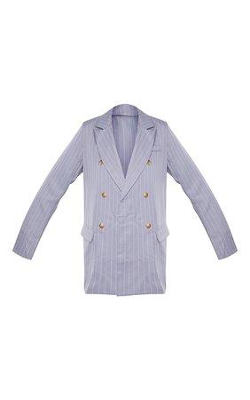 Grey Oversized Pinstripe Woven Blazer | PrettyLittleThing USA