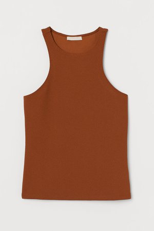Creped Tank Top - Beige