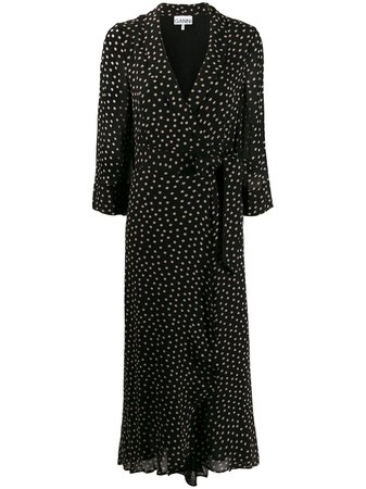 Ganni Polka Dot Wrap Dress F4621 Black | Farfetch