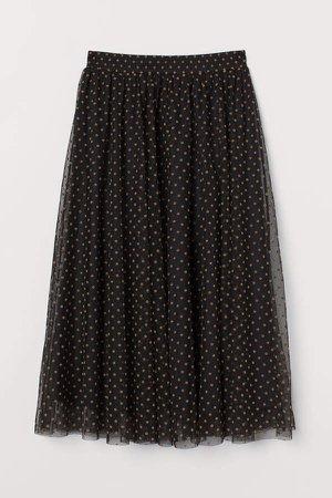 Dotted Tulle Skirt - Black