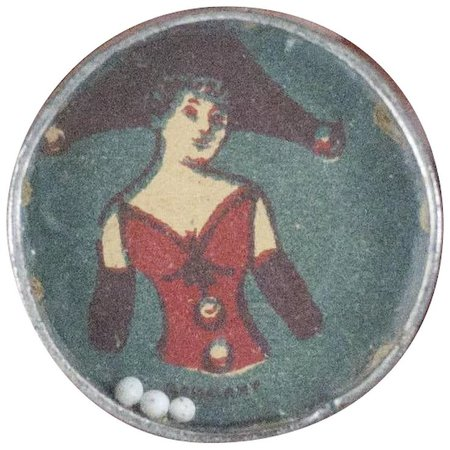 "1900s Antique German Tiny Dexterity Game with Beautiful Lady Image 1"" : Fun City 