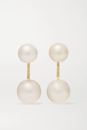 Gold 14-karat gold pearl earrings | Mateo | NET-A-PORTER