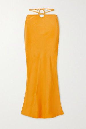 Tie-detailed Silk-satin Maxi Skirt - Yellow