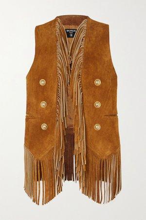Camel Button-embellished fringed suede vest   Balmain   NET-A-PORTER