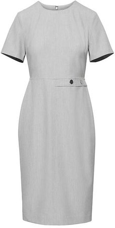 Machine-Washable Birdseye Side-Button Sheath Dress