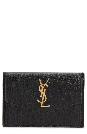 Saint Laurent Uptown Pebbled Leather Flap Card Case | Nordstrom