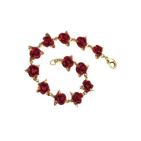 Dozen Red Roses Gold Bracelet