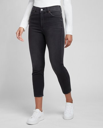 Super High Waisted Black Knit Mom Jeans