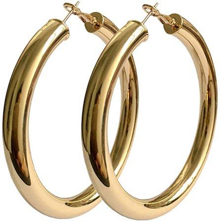 Amazon.com: STAYJOY 18K Gold Polished Fashion High-Profile Big Hoop Earrings with Omega Backs (Large): Jewelry